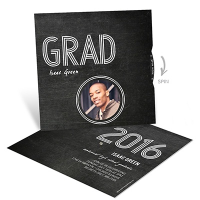 Wheel of Photos on Chalkboard Graduation Announcements