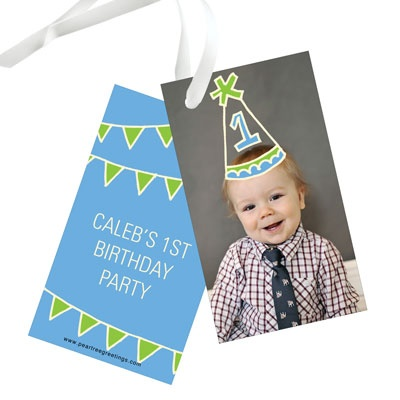 First Party Hat Kids Birthday Favor Tags