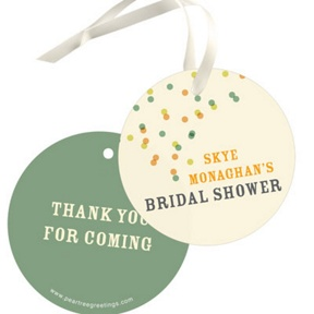 Green And Peach Favor Tags -- Bridal Shower Decorations