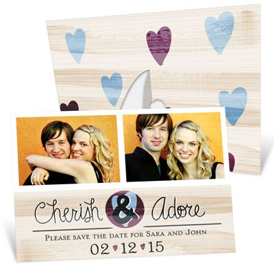 Hearts And Photos Picture Frame Save the Date Cards