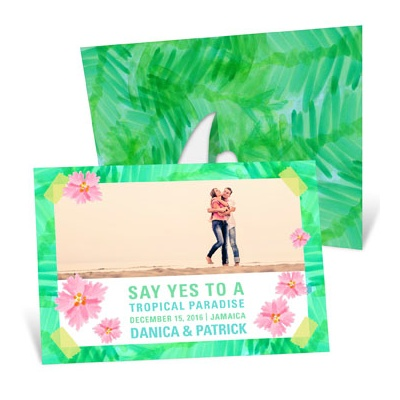 Tropical Setting Picture Frame Save the Date Cards