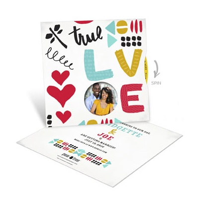 Love Doodles Photo Spinner Save the Date Cards