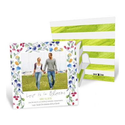 May Flowers Picture Frame Save The Date Cards