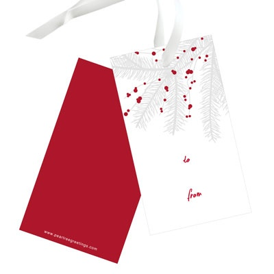 Branch With Berries Christmas Gift Tags