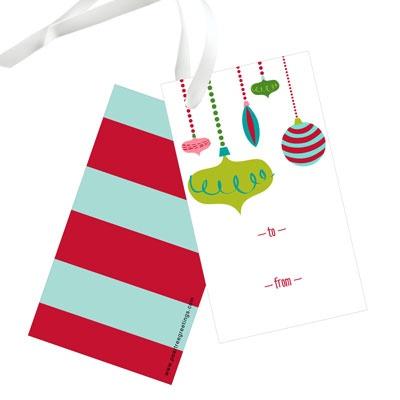 Retro Ornaments Christmas Gift Tags