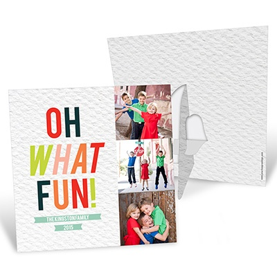 Tri Photo Stand-Up Frame Photo Christmas Cards