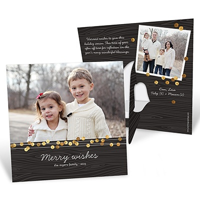 Gold Sequin-Look Stand-Up Frame Photo Christmas Cards
