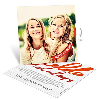 Hello Holidays Spinner Photo Christmas Cards
