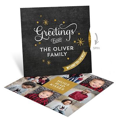 Glitter Stars Spinner Photo Christmas Cards