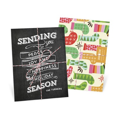 Chalkboard Trio Tied With Twine Photo Christmas Cards