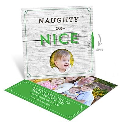 Nice List Spinner Photo Christmas Cards