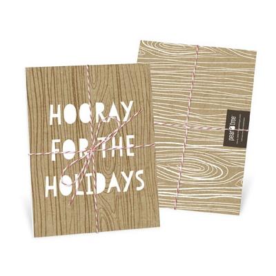 Kraft Paper Trio Tied With Twine Photo Christmas Cards