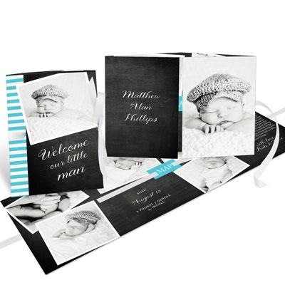 Chalk & Stripes Ribbon Booklet Baby Boy Announcements