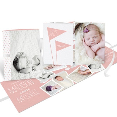 Wave The Flags Ribbon Booklet Baby Girl Announcements