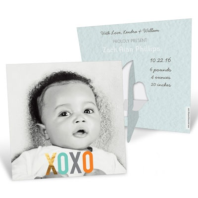 Hugs & Kisses Picture Frame Baby Boy Announcements