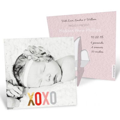 Hugs & Kisses Picture Frame Baby Girl Announcements