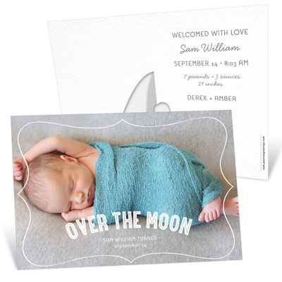 Horizontal Picture Frame Baby Boy Announcements