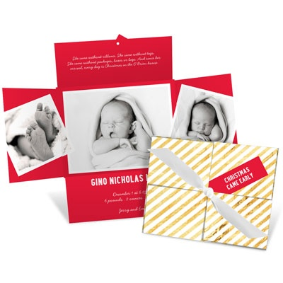 Golden Christmas Package Birth Announcements