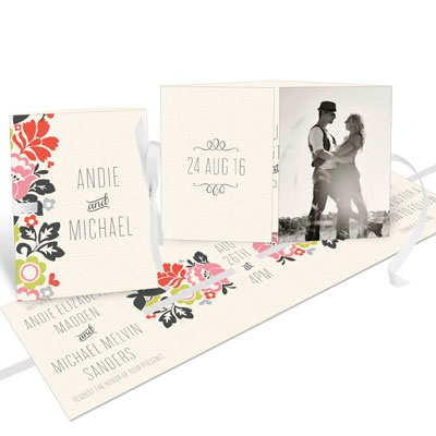 Spring Bouquet Ribbon Booklet Wedding Invitations