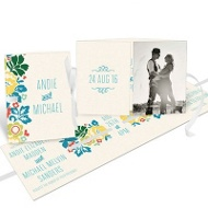 Summer Bouquet Ribbon Booklet Wedding Invitations