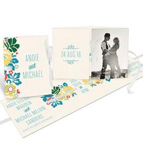 Summer Bouquet Ribbon Booklet -- Wedding Invitations