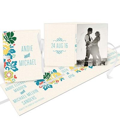 Summer Bouquet Ribbon Booklet Wedding Invitations