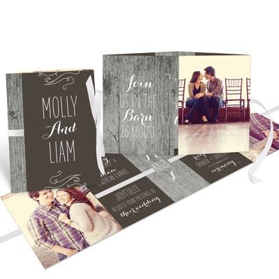 Rustic Wedding Ribbon Booklet Wedding Invitations