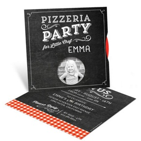 Pizza Party Photo Spinner -- Kids Birthday Invitations
