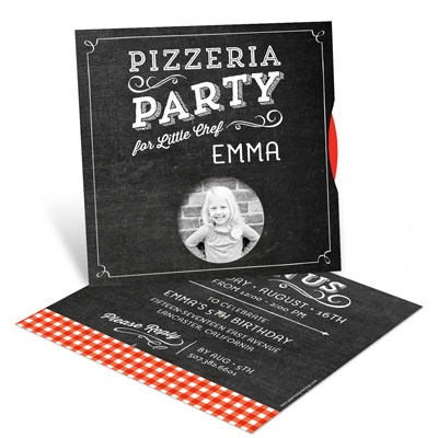 Pizza Party Photo Spinner Kids Birthday Invitations