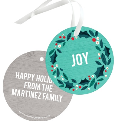 Holly Wreath In Teal Christmas Gift Tags