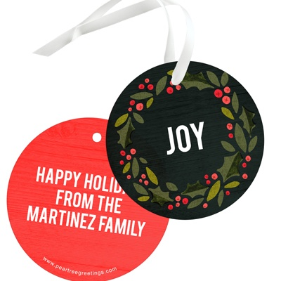 Holly Wreath In Black Christmas Gift Tags