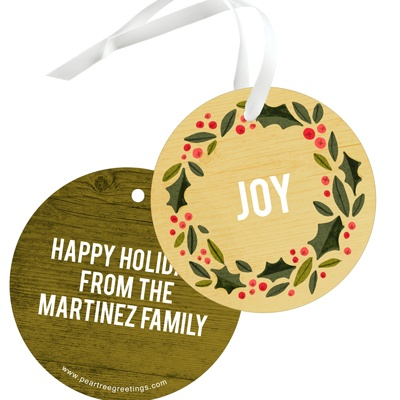 Holly Wreath In Yellow Gold Christmas Gift Tags
