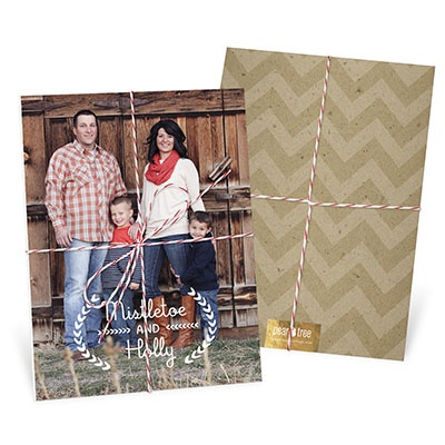Mistletoe Greeting Tied With Twine Christmas Cards