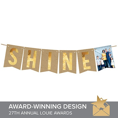 Shine Faux Foil Banner Christmas Cards
