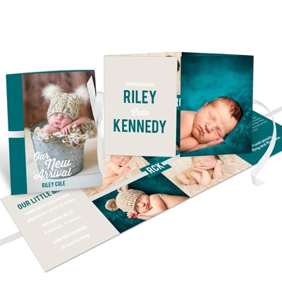 My Baby Boy Ribbon Booklet Birth Announcements