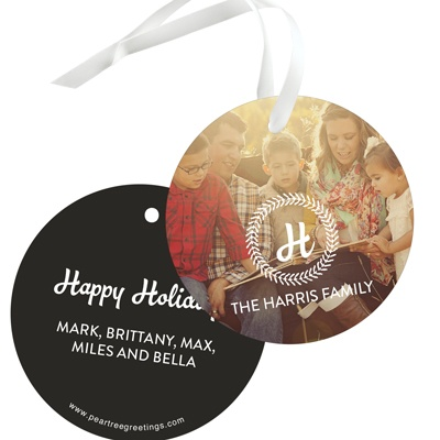Monogram Wreath Christmas Gift Tags