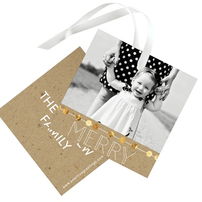 String Of Sequins On Kraft Christmas Gift Tags