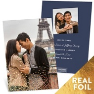 Falling Foil Sprinkles Vertical Save The Date Cards