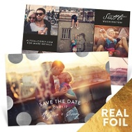 Shiny Foil Dots Save The Date Cards