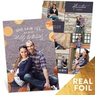 Shiny Foil Dots Vertical Save The Date Cards