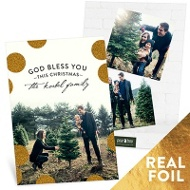 Shiny Foil Dots Vertical Religious Christmas Cards