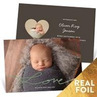 Love Foil Script Baby Boy Announcements
