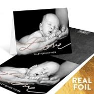Love Foil Script Baby Thank You Cards