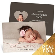Love Foil Script Baby Girl Announcements