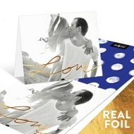 Love Foil Photo Personalized Note Cards