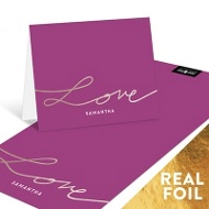 Love Foil Script Personalized Note Cards