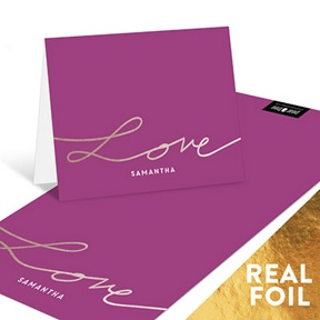 Love Foil Script -- Personalized Note Cards