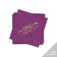 Hand Lettered Gold Foil Beverage Size Graduation Napkins