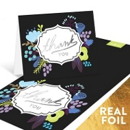 Floral Foil Thanks Thank You Cards