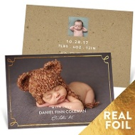 Delicate Foil Frame Baby Boy Announcements